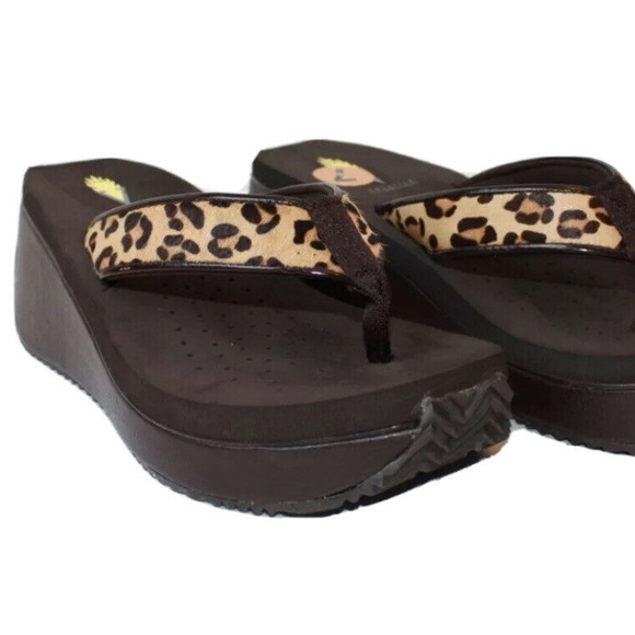 Volatile Corkee Wedge Sandals Tan/Leopard